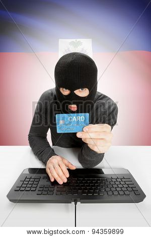 Cybercrime Concept With National Flag On Background - Haiti