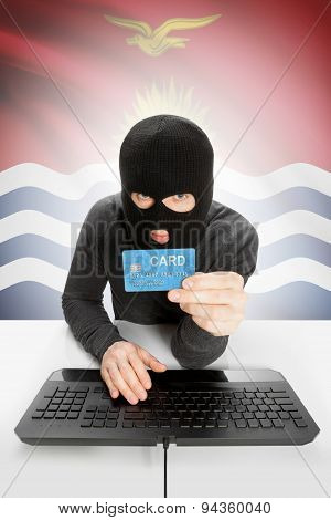 Cybercrime Concept With National Flag On Background - Kiribati