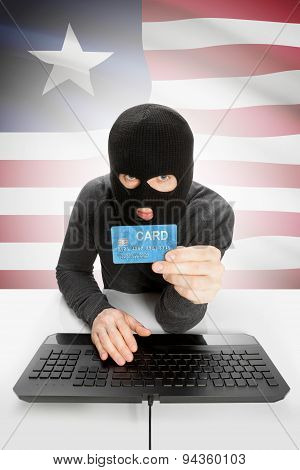 Cybercrime Concept With National Flag On Background - Liberia