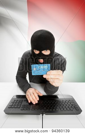 Cybercrime Concept With National Flag On Background - Madagascar