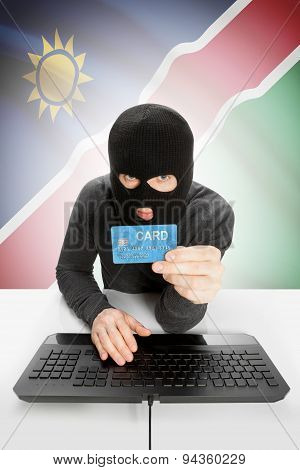 Cyber crime Concept With National Flag On Background - Namibia