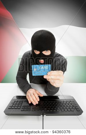 Cybercrime Concept With National Flag On Background - Palestine