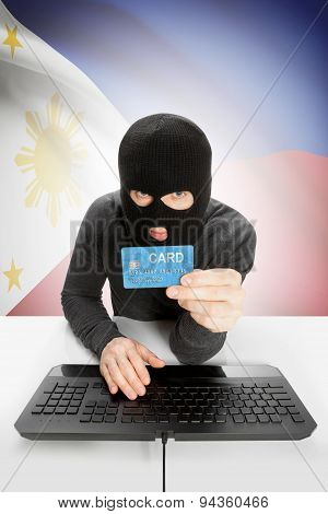 Cybercrime Concept With National Flag On Background - Philippines