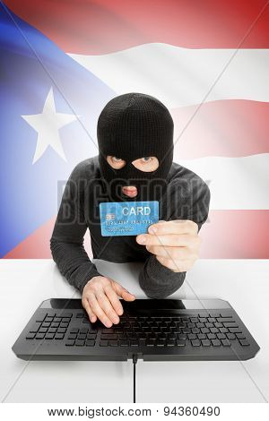 Cybercrime Concept With National Flag On Background - Puerto Rico