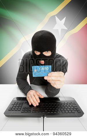 Cybercrime Concept With National Flag On Background - Saint Kitts And Nevis