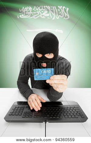 Cybercrime Concept With National Flag On Background - Saudi Arabia