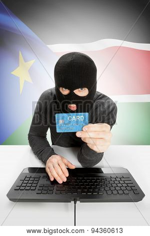 Cyber crime Concept With National Flag On Background - South Sudan