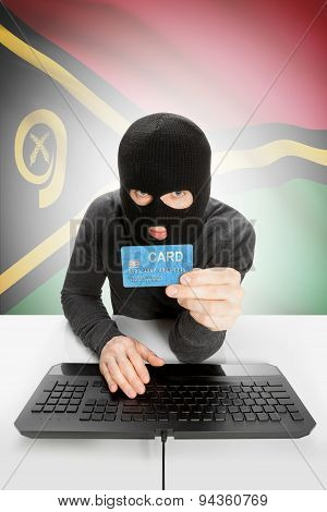 Cyber crime Concept With National Flag On Background - Vanuatu