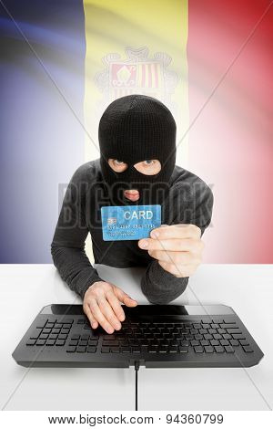 Cyber crime Concept With National Flag On Background - Andorra