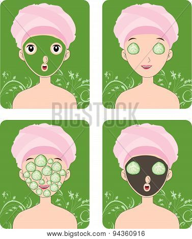 Woman with facial mask and cosmetics