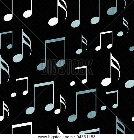 Blue, Black And White Music Notes Tile Pattern Repeat Background