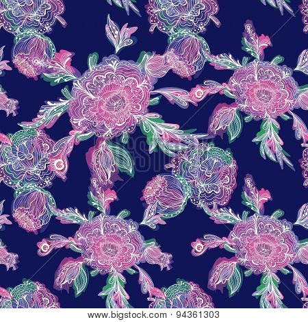Dramatic Vector Floral Pattern