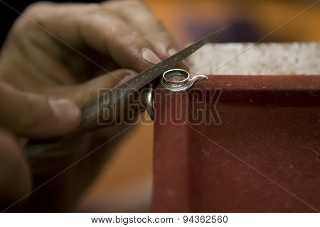 Varanasi, India - May: Jeweler Making Jewelry. Handwork. May 15, 2015 In Varanasi, India. Jewelcraft