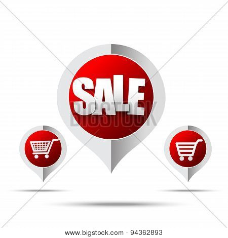 Set Of Sale Tag Pin Banner - Vector Illustration 006