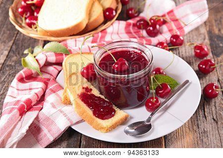 cherry jam and brioche