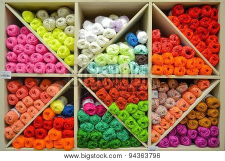Shelf With Knitting Yarn