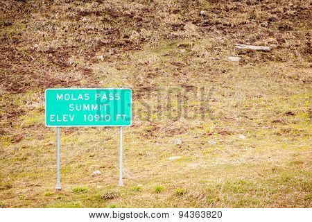 Molas Pass Summit Road Sign