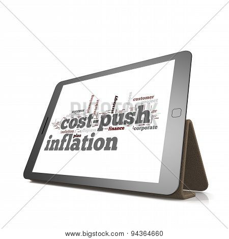 Cost Push Inflation Word Cloud On Tablet