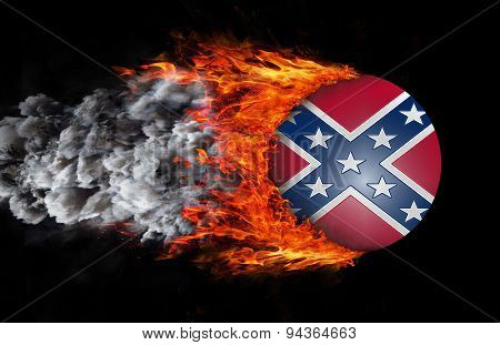 Flag With A Trail Of Fire And Smoke - Confederate Flag