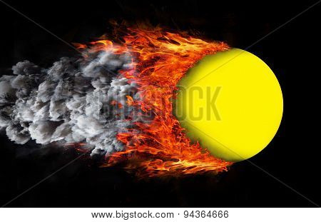 Ball With A Trail Of Fire And Smoke - Yellow