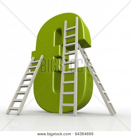 Green Euro Sign With Ladder