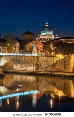 Rome, St. Peter's, Night Landscape.