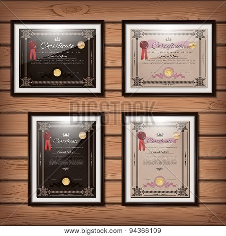 Vintage Certificate Templates Set With Detailed Border And Calligraphic Elements In Vector
