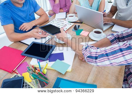 business team working on a table