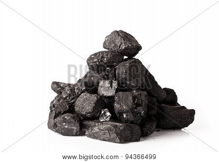 Coal stack isolated on white background