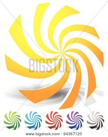 Set Of Colorful Abstract Elements. Whirling, Swirling, Rotating Shapes. Set Of 6 Colors, Yellow-oran