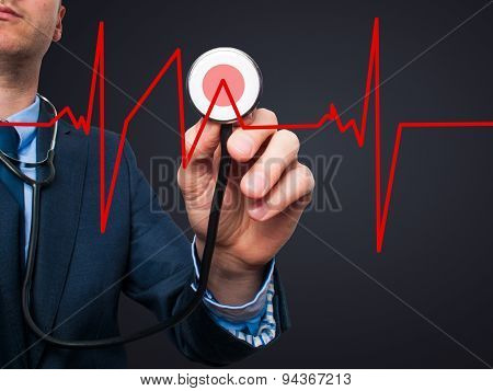 Closeup portrait handsome business man, male corporate employee, worker listening to heart beat with