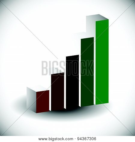 3D Bar Chart, Bar Graph Element. Editable Vector Graphics. Illustration For Business, Finance, Growt