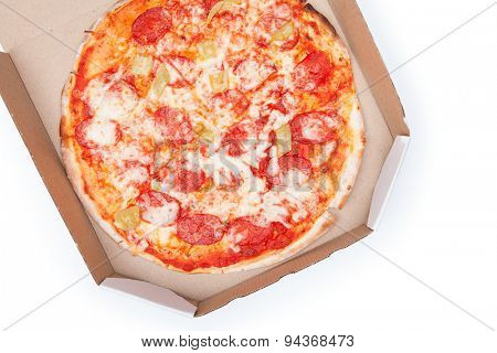 Pizza in box isolated