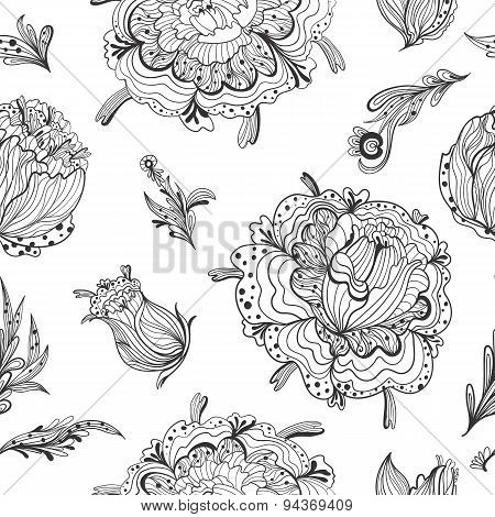 Black and White Gothic Floral Pattern