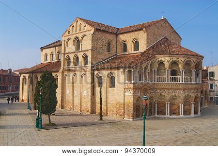 Exterior of the Santa Maria and San Donato Cathedral in Murano, Italy.