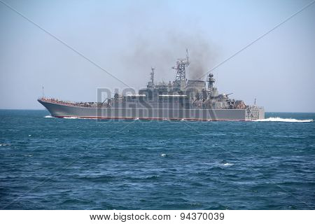 military ship for amphibious assault