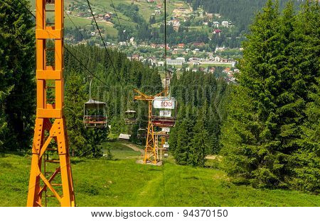 Chairlift On A Mountain Landscape