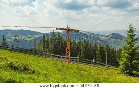 Empty Chairlift In Ski Resort With Green Grass And Blue Sky