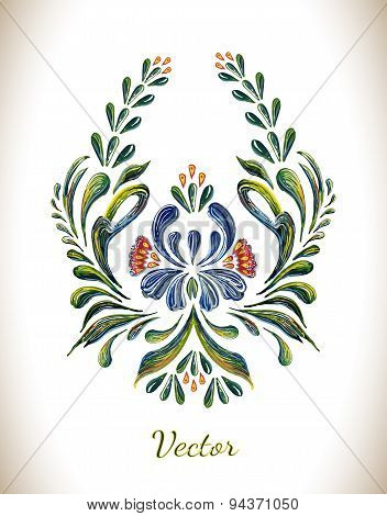 Hand Drawn vintage floral ornament. Illustration in folk style.