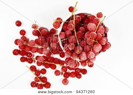 Top View Of Frozen Currants With Stems