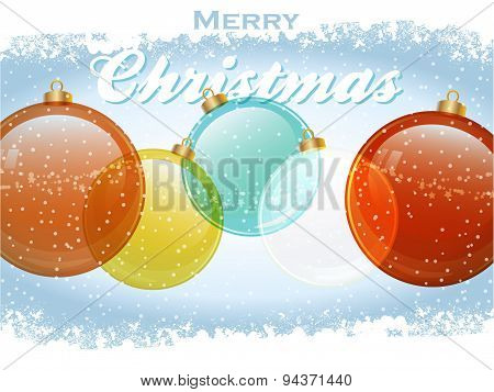 Christmas Baubles With Text And Snow
