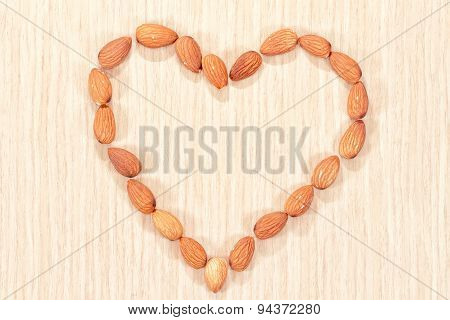 Almonds Are Laid Out In The Shape Of A Heart