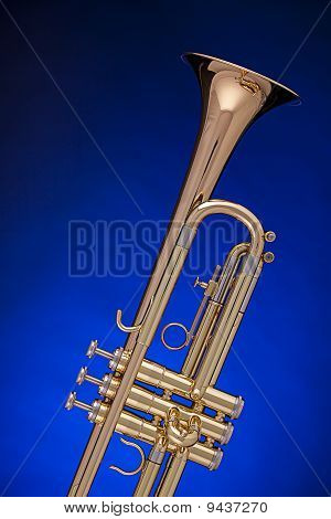 Trumpet Isolated On Blue
