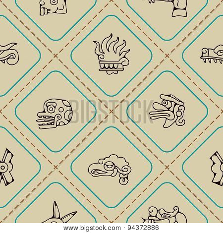 Seamless background with Aztec calendar Day glyphs