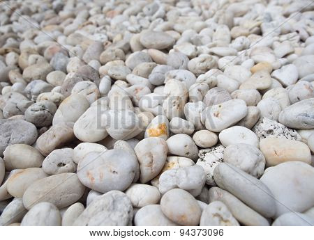 Colorful Pebble Stones Texture On The Beach.