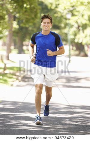 Man Running Through Park