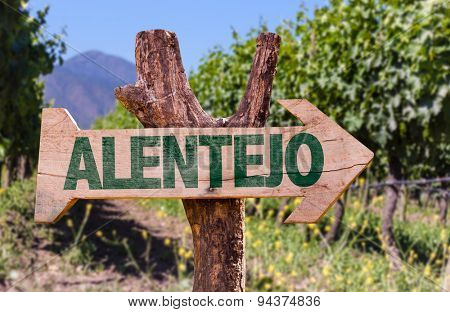 Alentejo wooden sign with winery background