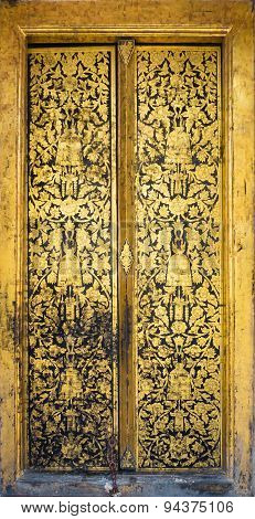 Temple Door Art At Wat Rakhangkhositraram, Bangkok