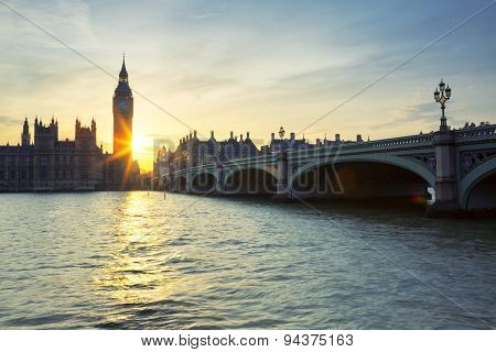 Big Ben Clock Tower In London At Sunset