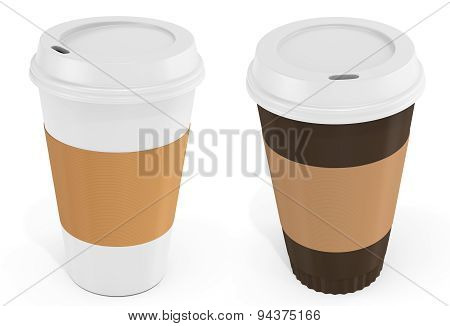 3D Coffee Cups With Blank Label